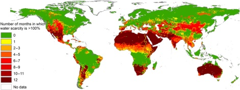 What areas of the world are at greatest risk for water scarcity? Where are the most people impacted? Map by Mesfin M. Mekonnen and Arjen Y. Hoekstra, courtesy Science Advances. CC-BY-NC-4.0