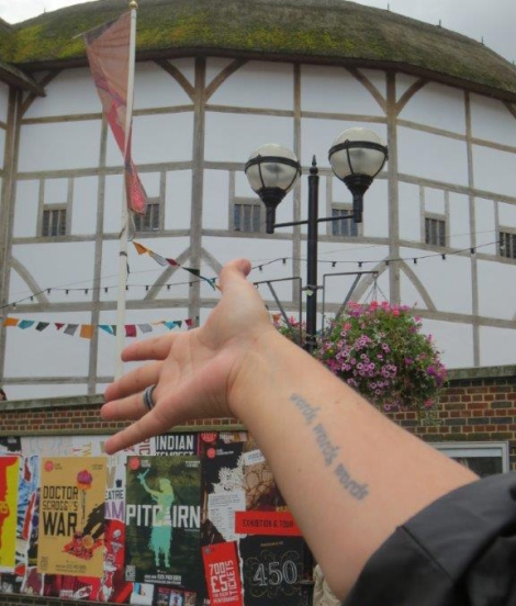 Self-portrait (with favorite Shakespearean quote!) in front of Shakespeare's Globe by Caryl-Sue, National Geographic