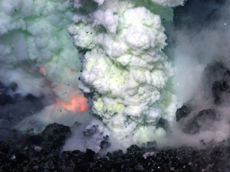 Ocean vents are often associated with underwater volcanoes like this one erupting in the Pacific Ocean between Fiji, Tonga, and Samoa. Just as steam vents surround terrestrial volcanoes, ocean vents can surround seamounts. Photograph courtesy NOAA and NSF