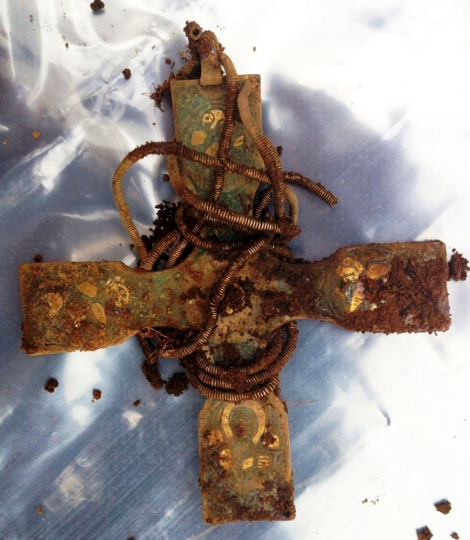 This beautiful medieval cross was part of the Galloway Hoard, a collection of Viking treasure dating from the 9th and 10th centuries.  Photograph by Derek McLennan and Martin McSweeney, courtesy Wikimedia. CC-BY-SA-4.0