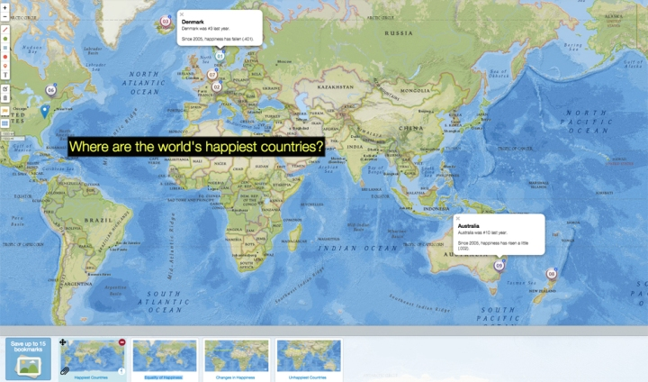 Click over to investigate the world's happiest countries! The second bookmark maps the equality of happiness, the third bookmark maps the biggest changes in happiness, and the final bookmark maps the world's unhappiest countries.