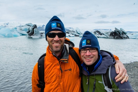 Grosvenor Teacher Fellows Matt Eddy (left) and author Charles Dabritz traveled to Iceland in 2013.Photo by Ralph Lee Hopkins