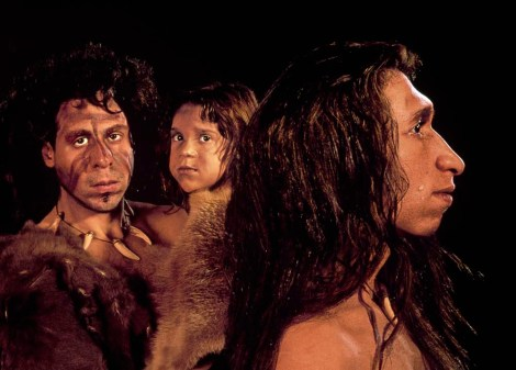 This Neanderthal (sometimes called Neandertal) family was modeled by researchers at the University of Illinois using anatomical data collected from modern humans and comparing it to cranial landmarks on Neanderthal skulls.  Photograph by Kenneth Garrett, National Geographic