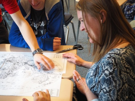 Nicole working with students on their maps. Photo by Mr. Tony Aldinger, Director of Community Outreach at Manheim Township School District