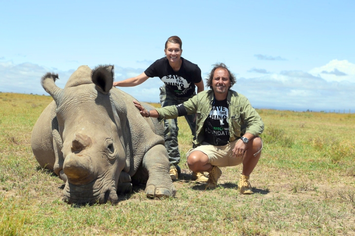 Meeting with Sudan, the last remaining Northern White Rhino. Photo provided by The Perfect World Foundation
