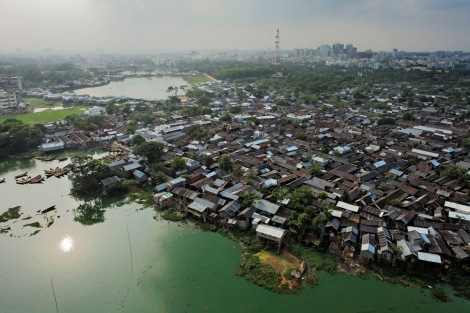 The megacity of Dhaka, Bangladesh, was the test case for geographers studying how physical geography contributes to the spread of disease. Photograph by Jonas Bendiksen, National Geographic