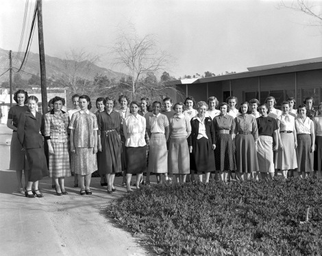 "NASA's ""human computers,"" 1953. First row, left to right: Ann Dye, Gail Arnett, Shirley Clow, Mary Lawrence, Sally Platt, Janez Lawson, Patsy Nyeholt, Macie Roberts, Patty Bandy, Glee Wright, Janet Chandler, Marie Crowley, Rachel Sarason, and Elaine Chappell. Second row: Isabel deWaard, Pat Beveridge, Jean O'Neill, Olga Sampias, Leontine Wilson, Thais Szabados, Coleen Veeck, Barbara Lewis, Patsy Riddell, Phyllis Buwalda, Shelley Sonleitner, Ginny Swanson, Jean Hinton, and Nancy Schirmer. Photograph courtesy NASA/JPL-Caltech"