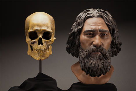 This clay facial reconstruction of Kennewick Man was carefully sculpted around the morphological features of his skull, and lends a deeper understanding of what he may have looked like nearly 9,000 years ago. Sculpted bust of Kennewick Man by StudioEIS based on forensic facial reconstruction by sculptor Amanda Danning. Photo by Brittney Tatchell, Smithsonian Institution