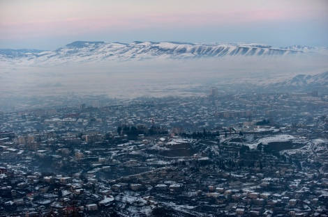Dusk settles over Stepanakert, capital of the disputed region of Nagorno-Karabakh in western Azerbaijan. Photograph by Alex Webb, National Geographic