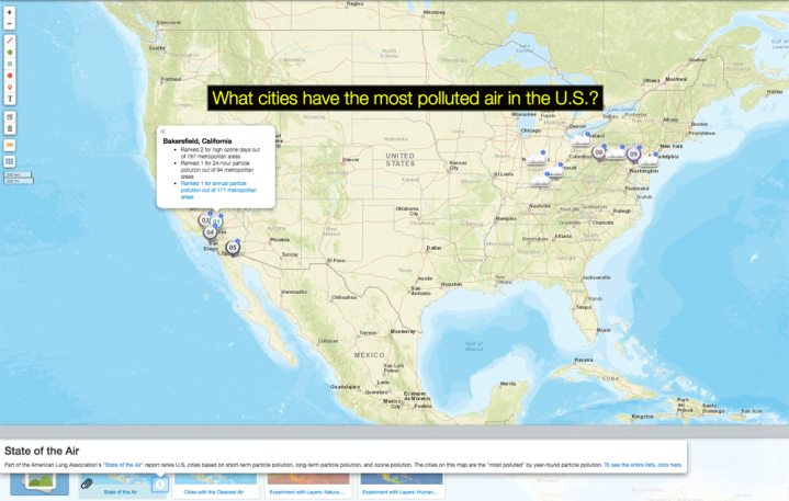 """Use today's MapMaker Interactive map to help put the """"State of the Air"""" report in geographic perspective. What US cities have the most air pollution? Which are the cleanest? How might natural and human factors impact air quality?"""