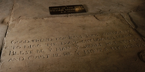 Shakespeare (or most of him) is believed to be buried  in this church, the Church of the Holy Trinity in Stratford-upon-Avon, United Kingdom. Photograph by Dean Conger and John E. Fletcher, National Geographic.