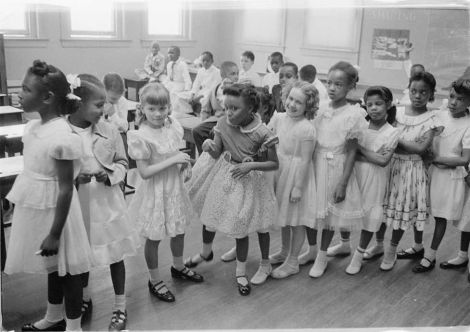 Barnard School, in Washington, D.C., above, was integrated a year after the Brown decision. Photograph by Thomas J. O'Halloran, courtesy Library of Congress