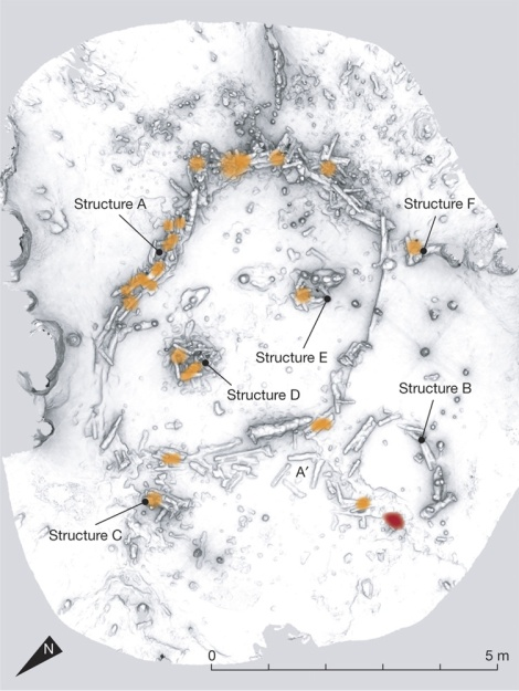 "The six structures in Bruniquel cave are composed of speleothems or fragments of speleothems (speleofacts). The orange spots represent the heated zones, all located on the speleothems themselves. The red spot (structure B) represents a char concentration (mainly burnt bone fragments) on the ground. Map by Jacques Jaubert et al. ""Early Neanderthal constructions deep in Bruniquel Cave in southwestern France,"" Nature (2016)"