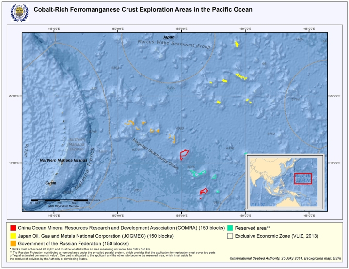 This map of the Western Pacific shows the locations of proposed exploratory mining sites. Map courtesy of ISA (International Seabed Authority)