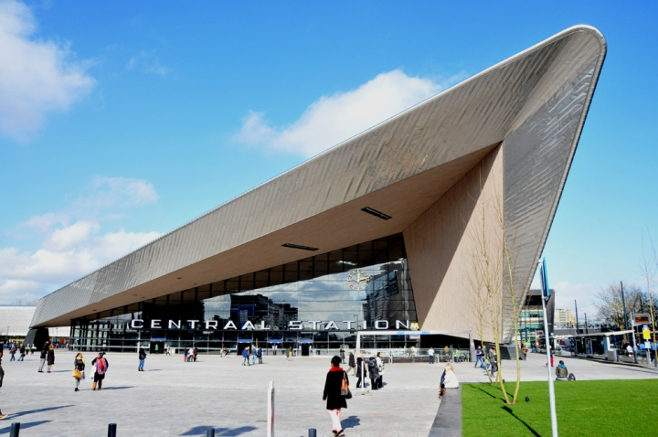 Rotterdam's spectacular Central Station was designed to evoke a ship's prow, honoring the Netherlands' seafaring history.Photograph by Spoorjan, courtesy Wikimedia. CC-BY-SA-3.0,2.5,2.0,1.0