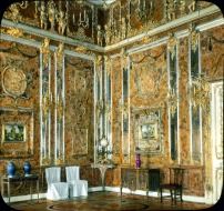 "The Russian ""Amber Room"" was decorated in amber panels backed with gold leaf and mirrors. It was looted during World War II. Photograph by Branson DeCou, courtesy University of California at Santa Cruz"