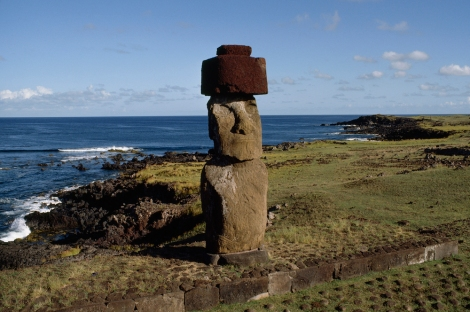 Scientists say Easter Island statues may eventually be lost at sea as a result of climate change. Photo by James P. Blair, National Geographic