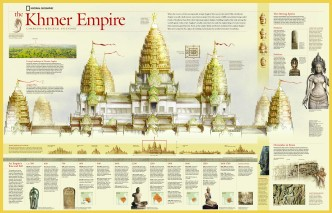 Angkor Wat is the most famous temple complex of the Khmer culture. CLICK TO VIEW FULL-SIZE! Illustration by Juan Velasco, National Geographic