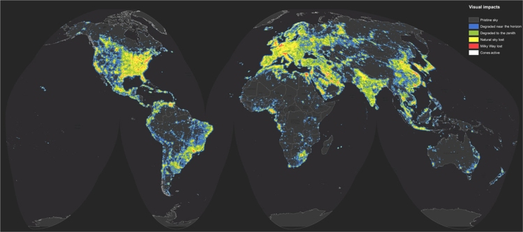 "Can you see the Milky Way? Map by Fabio Falchi et. al., ""The new world atlas of artificial night sky brightness,"" Science Advances. 10 June 2016"