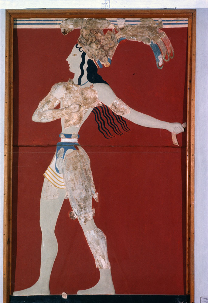 A Minoan youth scrubs down in a majorly reconstructed fresco at Knossos, Crete. Photograph by Gordan Gahan, National Geographic