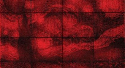 """Van Gogh's """"Starry Night"""" was recreated in """"DNA origami"""" by Caltech scientists. Photograph by Paul W.K. Rothemund et. al., courtesy Caltech."""
