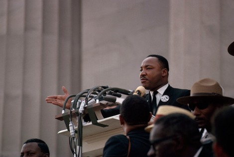 Dr. Martin Luther King, Jr. gives his famous 'I Have a Dream' speech from the steps of the Lincoln Memorial in Washington, DC. Photograph by James P. Blair, National Geographic.