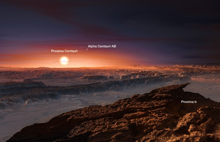 This artist's impression shows a view of the surface of the planet Proxima b orbiting the red dwarf star Proxima Centauri, the closest star to the sun. The double star Alpha Centauri AB also appears in the image. Proxima b is a little more massive than the Earth and orbits in the habitable zone around Proxima Centauri, where the temperature is suitable for liquid water to exist on its surface. Illustration by ESO/M. Kornmesser