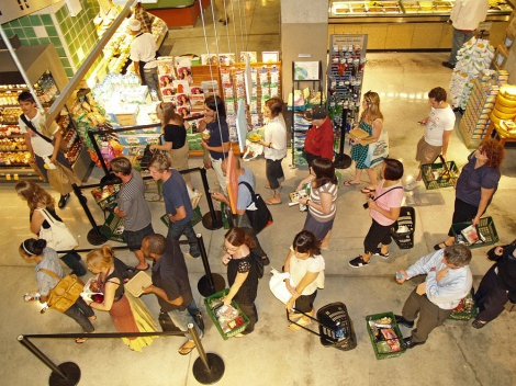 New Yorkers wait in line at a Whole Foods. Photograph by David Shankbone, courtesy Wikimedia. CC-BY-SA-3.0