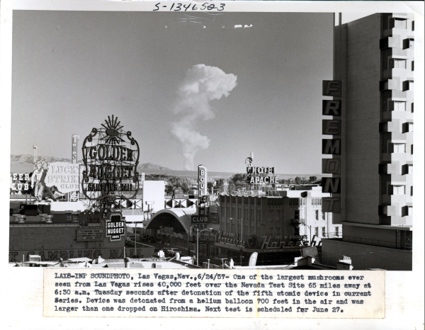 No hiding this mushroom cloud, the telltale sign of a nuclear explosion at the Nevada Test Site during the 1950s. Photo courtesy of National Nuclear Security Administration/Nevada Field Office. Public domain