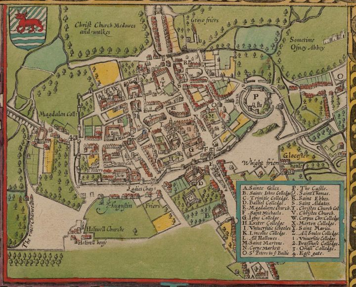 This maps the Oxford University campus more than 500 years after it was established, in 1609. Oxford (est. 1096), beat out young whippersnapper Caltech (est. 1891) in the Times Higher Education World University Rankings.  Map by John Speed, courtesy Wikimedia. Public domain