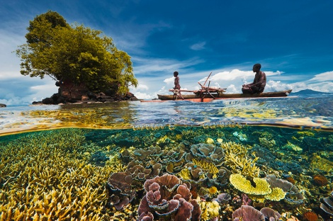 The Law of the Sea gives a nation autonomy over marine resources within its exclusive economic zone (EEZ). This coral reef in Kimbe Bay is included in the EEZ of Papua New Guinea. Photograph by David Doubilet, National Geographic
