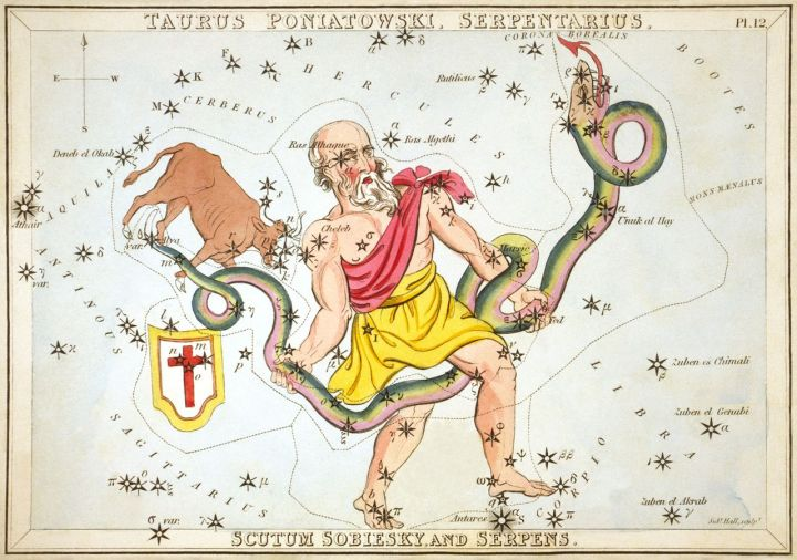 This is my zodiac sign! It was demoted, which explains so much about my life …  Etching by Sidney Hall, courtesy Library of Congress