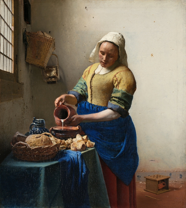 """Dutch milkmaids of the 1600s kept milk cool in cellars or """"cool pantries"""" (located on the coldest-facing wall of the house). Painting by Johannes Vermeer, of course. Zoom in at the Rijksmuseum"""