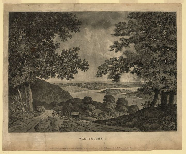 Not all riversides are swamps. Engraving by George Isham Parkyns, courtesy Library of Congress. Public domain