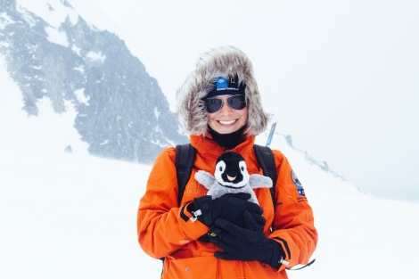 Ellie poses during her expedition to Antarctica, part of the 2015 Grosvenor Teacher Fellowship. Photo by Beth Thomas