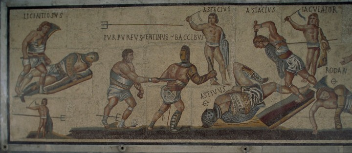 Roman gladiators, like these in a mosaic from the Villa Borghese in Rome, turned war into a game. Photograph by James L. Stanfield, National Geographic