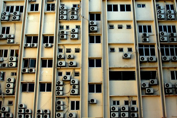 The tropical heat of Kuala Lumpur, Malaysia, makes air conditioners like these important to a comfortable life! Malaysia is one of more than 170 nations that have agreed to begin phasing out use of HFCs in air conditioners. Photograph by Tinou Bao, courtesy Wikimedia. CC-BY-2.0