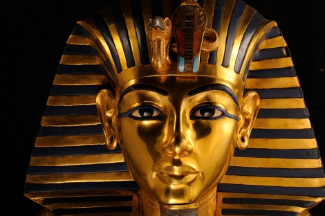 This gold funerary mask was found in King Tut's tomb along with gold jewelry, headdresses, and ceremonial objects. Photograph by Kenneth Garrett, National Geographic.