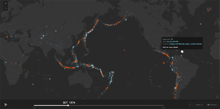 This is an amazing data display from the good folks at the Smithsonian's endlessly resourceful Global Volcanism Program. Interactive map by Smithsonian Museum of Natural History—Global Volcanism Program
