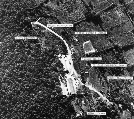 This satellite image identifies a ballistic missile base in Cuba—the evidence with which President Kennedy ordered a naval blockade of Cuba in the Cuban Missile Crisis.Photograph by Keystone/Getty Images
