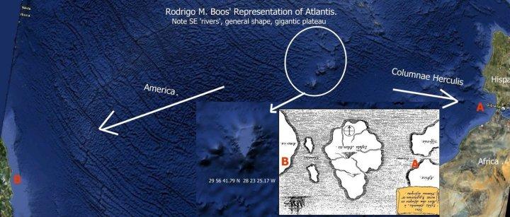 Behold a 2011 interpretation of a 1648 map of 360 BCE Platonic dialogue, of a 600 CE myth: Atlantis. Yes, we're still fascinated. Map by Rodrigo Boos, courtesy Wikimedia. CC-BY-SA-3.0