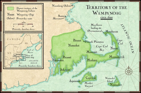 Pilgrims built Plymouth Colony on land that belonged to Native Americans without their permission. Map by NGS Maps, National Geographic.