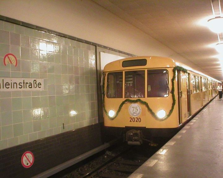 Some versions of the Stahldora (Steel Dora) subway trains have been in use since the 1950s. This holiday-themed train was brought out of retirement for the 75th birthday of Berlin's U8 line. Photograph by Jcornelius, courtesy Wikimedia. CC-BY-SA-2.0-DE