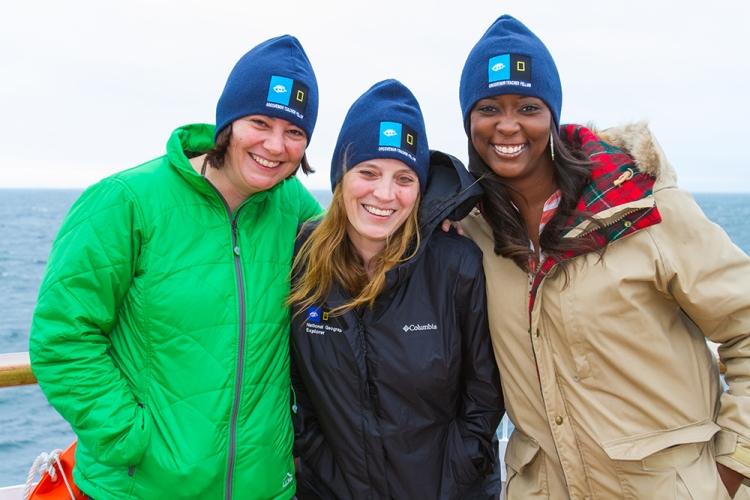 Holly Doe, Julia Sheldon and Demetria Scott, Grosvenor Teacher Fellows, in Svalbard, Norway on board the National Geographic Explorer