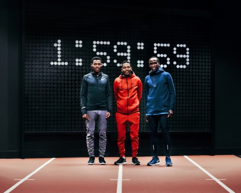 Nike's Breaking2 quest to break the two-hour marathon barrier involves three top athletes: Lelisa Desisa (2:04:45), Eliud Kipchoge (2:03:05), and Zersenay Tadese (half-marathon 58:23). Photograph courtesy Nike