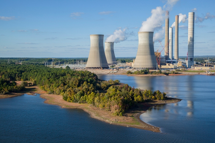 Greenhouse gas emissions, from sites like this power plant in Georgia, have increased despite the Kyoto Protocol. Photograph by Robb Kendrick, National Geographic.