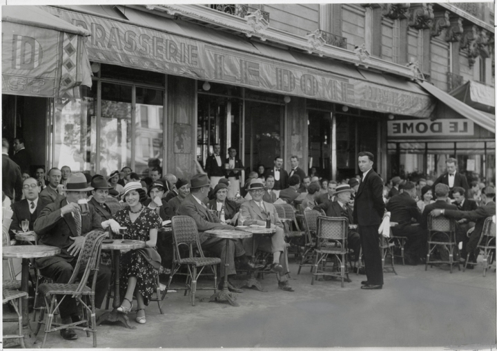 Cafés aren't as crowded today as they were in 1936, when this photo was taken in Paris. Photograph by W. Robert Moore, National Geographic