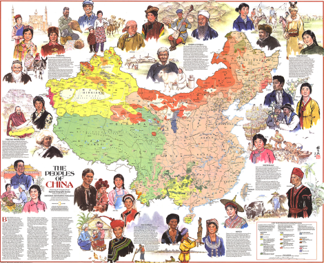 "Click to zoom, zoom, zoom in on this classic 1980 National Geographic map of the ""Peoples of China."" Han Chinese are the most populous ethnic group in both the People's Republic of China (sometimes called ""Mainland China"") and the Republic of China (sometimes called ""Taiwan"" or ""Chinese Taipei""). Indigenous Taiwanese groups are considered Austronesian peoples—on our map, called Malay-Polynesian. Map by National Geographic magazine"