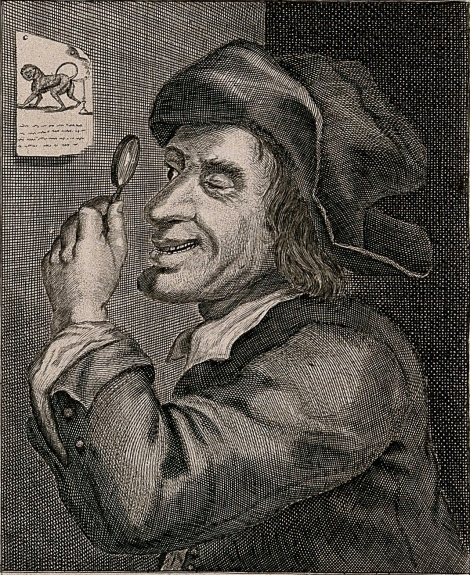 A 17th century scientist studies a flatulent monkey. Engraving courtesy the Wellcome Library, London. CC-BY-4.0