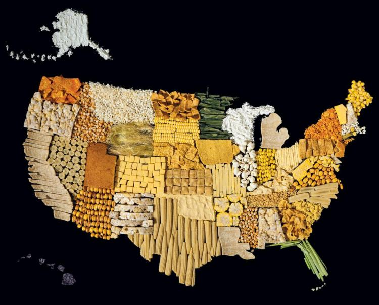An artistic representation of the U.S. features corn in many forms—including cobs, kernels, and chips. Photograph by Henry Hargreaves and Caitlin Levin